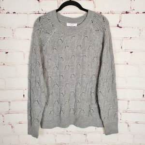 Elodie Sweater Cable Knit Pullover Grey